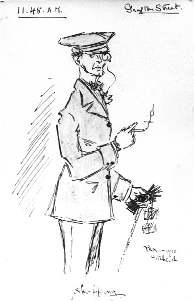 An early sketch from 1910, 11.45am, Grafton Street, shopping